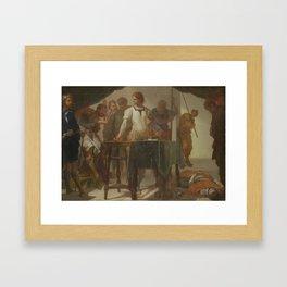 Mucius Scaevola Confronting King Porsenna by Bernardo Cavallino, circa 1650 Framed Art Print