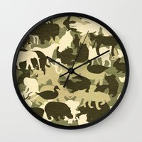 camouflage Wall Clocks featuring Camouflage by Diego Tirigall
