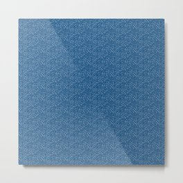 Ink dot scales - white on classic blue Metal Print