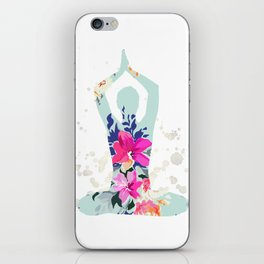 Yoga pilates watercolor print | Watercolor flowers iPhone Skin