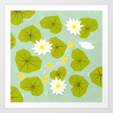 Through the maze of lilies Art Print