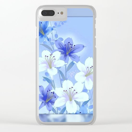 Periwinkle Mirror Floral Clear iPhone Case
