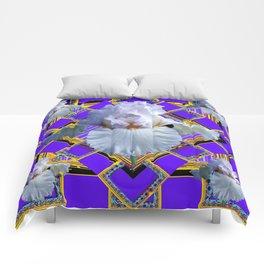 ART DECO WHITE IRIS PURPLE ART Comforters