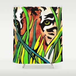 Tiger Eyes Looking Through Tall Grass By annmariescreations Shower Curtain