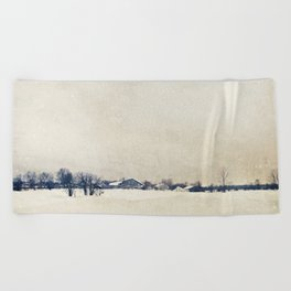 Winter On A Farm Beach Towel
