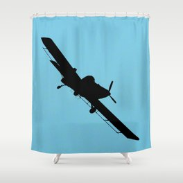 Crop Duster Silhouette Shower Curtain