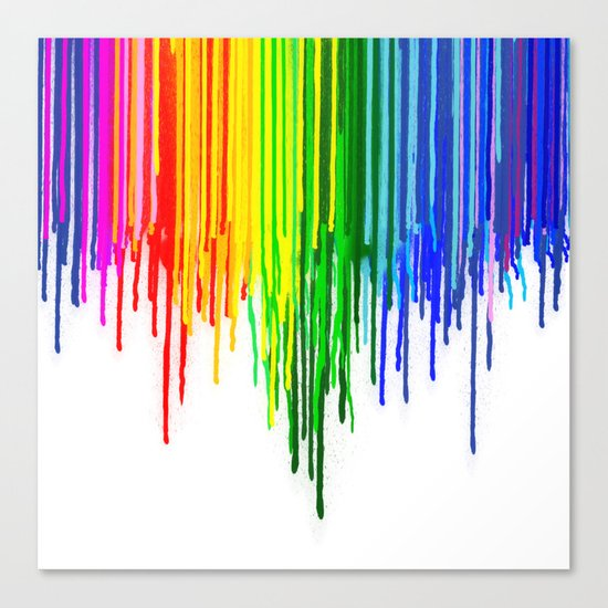 Rainbow Paint Drops on White Canvas Print