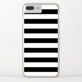 Large Black and White Horizontal Cabana Stripe Clear iPhone Case
