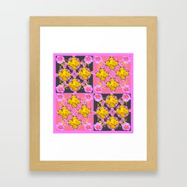 Pink-Grey Quarter Panel Floral Pattern Framed Art Print