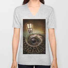 Spiral staircaise with a window Unisex V-Neck