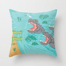 Crocodiles and Hippos Throw Pillow