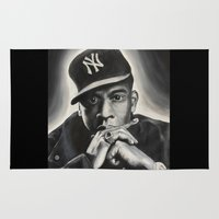 jay z Area & Throw Rugs featuring Jay-Z by Sarah Painter