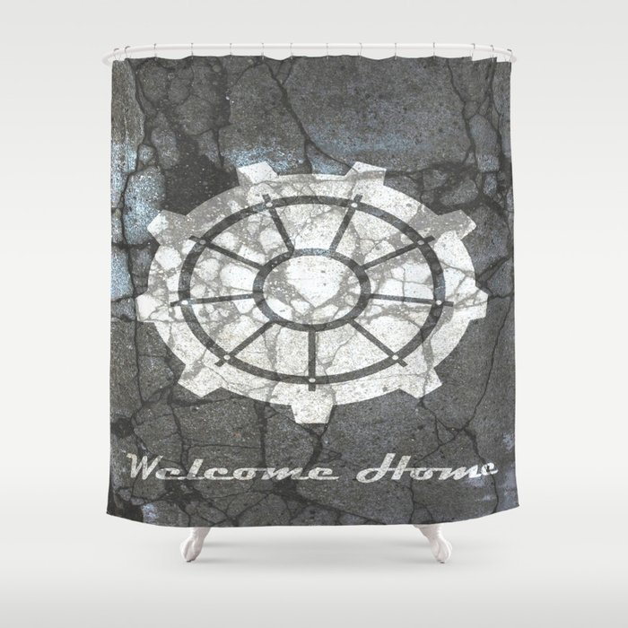 Fallout Inspired Welcome Home Vault Door Print Poster Wall Art Neutral Shower Curtain