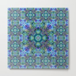 Blue/Green Kaleidoscope Pattern Metal Print