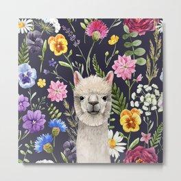 Wildflower Alpaca Metal Print