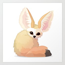 cute fennec foxes. Vector graphic character Art Print