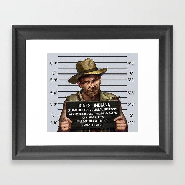 Indiana Jones Mugshot Framed Art Print