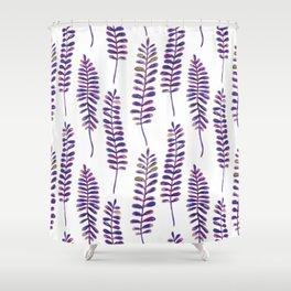 Watercolour Fern Pattern | Purple and Gold Shower Curtain