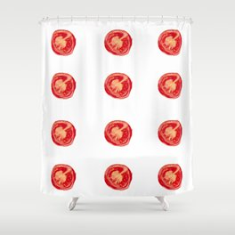Watercolor Tomatoes Shower Curtain