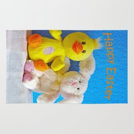 Happy Easter Chick + Bunny Rug