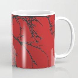 Creepy tree silhouette, black on red Coffee Mug