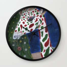 Christmas Giraffe Wall Clock