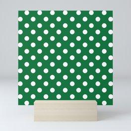 Polka Dots (White & Dark Green Pattern) Mini Art Print