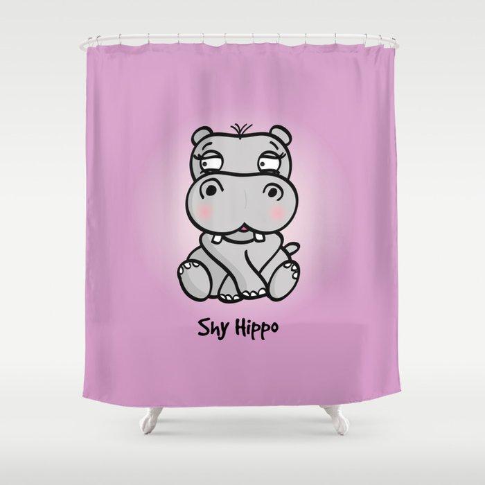 Shy Hippo Shower Curtain By Spriteideas