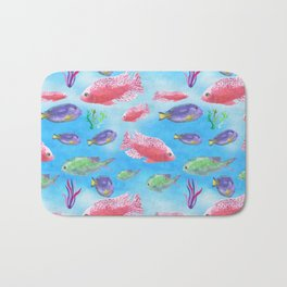The deep sea-fishes in the sea- watercolor illustration Bath Mat