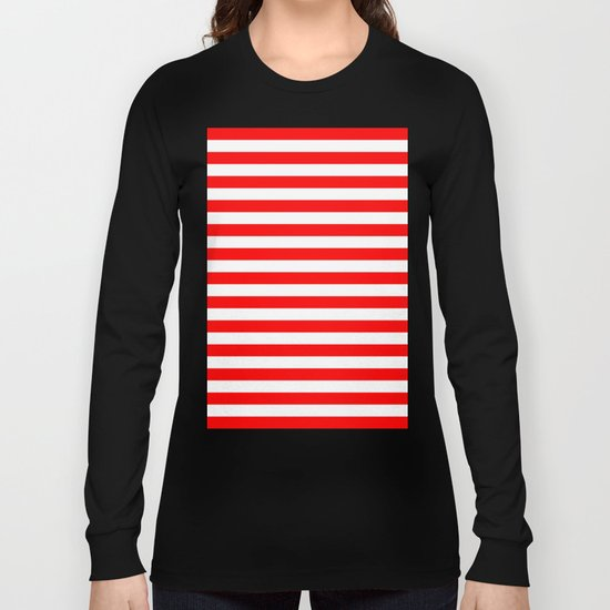 Horizontal Stripes (Red/White) Long Sleeve T-shirt