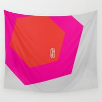 hexagon Wall Tapestries featuring Hexagon -Psichedelico by Juliana Juice