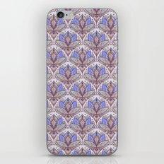 Art Deco Lotus Rising 2 - sage grey & purple pattern iPhone Skin