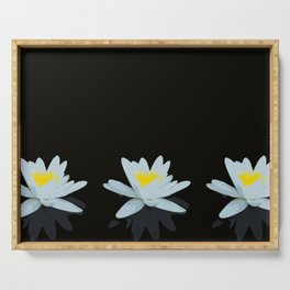 Waterlily Flowers On Black Background #decor #society6 #buyart Serving Tray