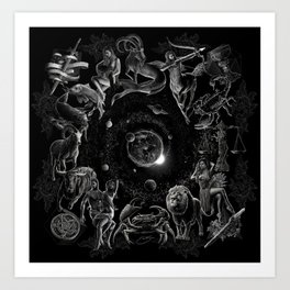 XXI. The World Tarot Card Illustration (Zodiacs) Art Print