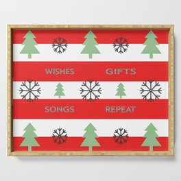 Christmas - wishes, gift, songs, repeat. Serving Tray