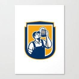 Bartender Toast Beer Mug Shield Retro Canvas Print