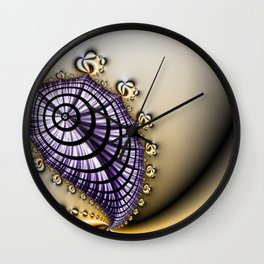 Purple and Gold Abstract Design Wall Clock