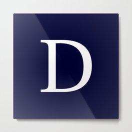 Navy Blue Basic Monogram D Metal Print