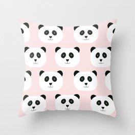 Panda Love -Pink Throw Pillow