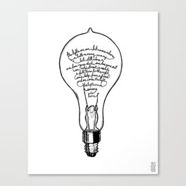 "Ode to the Bulb - ""lights are on"" Canvas Print"