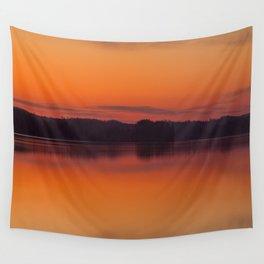 Evening Lakescape Orange Sunset Sky Reflection #decor #society6 #buyart Wall Tapestry