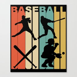 Vintage Retro 1970's Style Baseball Canvas Print