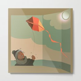 The boy with the kite. Dreams come true here, there and over there Metal Print