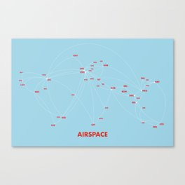 Air route and airport hub Airspace map Canvas Print