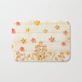 Autumn Flowers in Watercolor Bath Mat