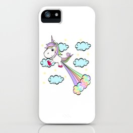 A Perfect Gift Tee With An Illustration Of A Unicorn T-shirt Design Magical Mythical Colorful Clouds iPhone Case