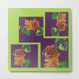 Leaf Painting in Plum and Lime Metal Print