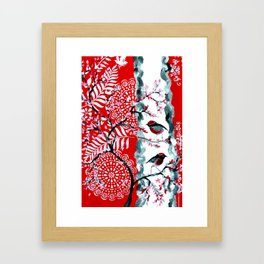 Robins with Red and Black Designs Framed Art Print