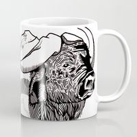 bison Mugs featuring Bison by Hopler Art