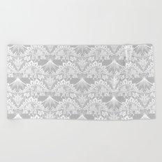 Stegosaurus Lace - White / Silver Beach Towel